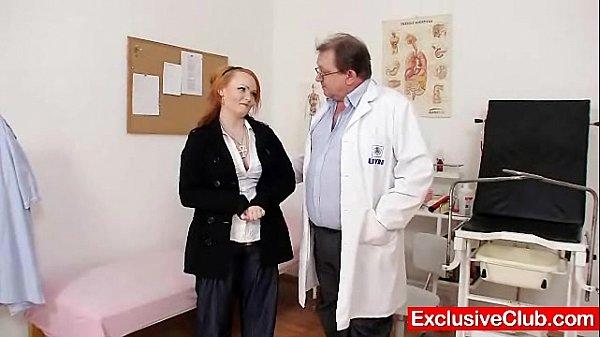 Redhead Samantha checked by kinky gyno doctor  thumbnail
