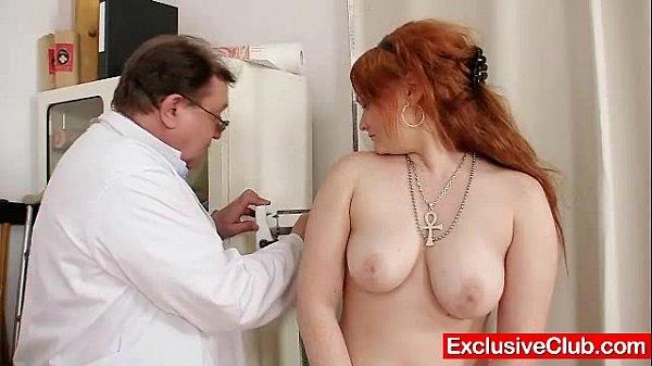 Redhead Samantha checked by kinky gyno doctor