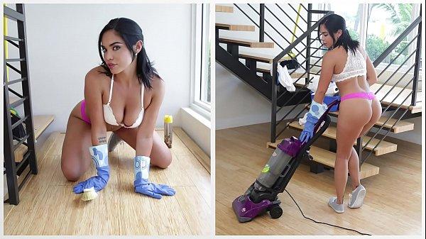 BANGBROS - Hot Latina Maid Selena Santana Polishes Bruno Dickemz's Knob