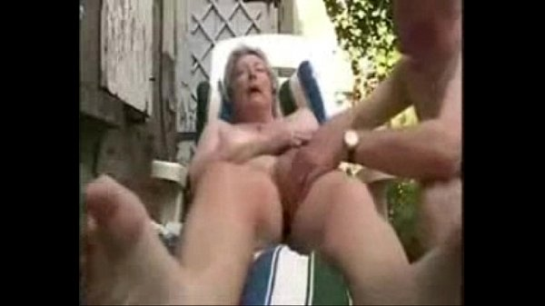 Granny having fun in court yerd. Amateur older