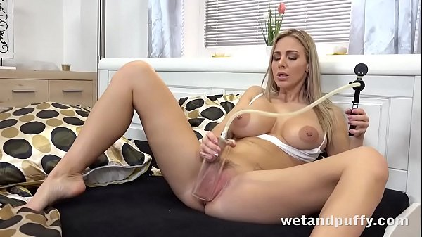 Busty Blonde with Blue Dildo