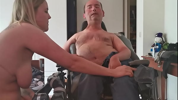 Busty blonde takes huge load of cripple and puts it in her pussy