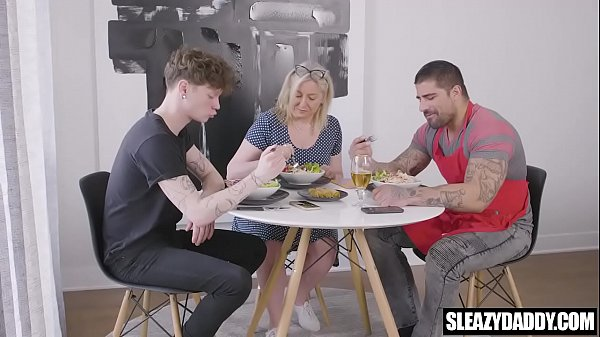 Muscle daddy fucks gay son behind mom's back