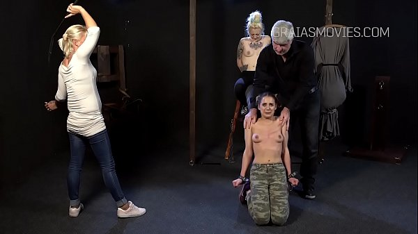 Young slut's tits whipped with full strength