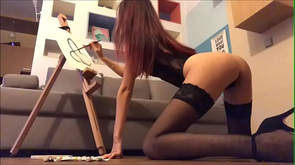 SEXY BRUNETTE DRAWS ON YOUR BODY AND FUCKS PUSS...