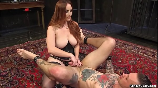 Mistress pegging tattooed man slave