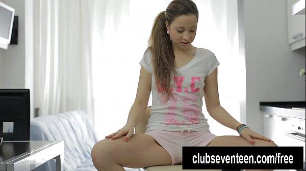 Ponytailed teen Magda masturbating with magic wand