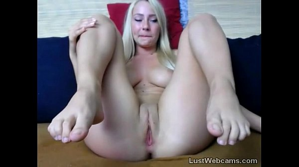 Busty blonde toys her pussy on webcam