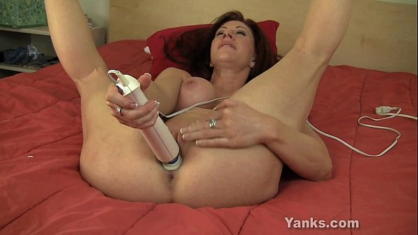 Busty MILF Catherine Vibrating Her Pussy Thumb
