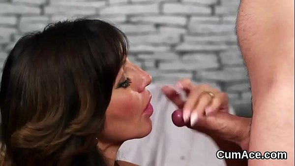 Horny babe gets cum shot on her face swallowing all the load