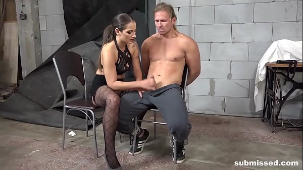 Femdom Alert! Skinny babe whips fit guy and blows him off Thumb