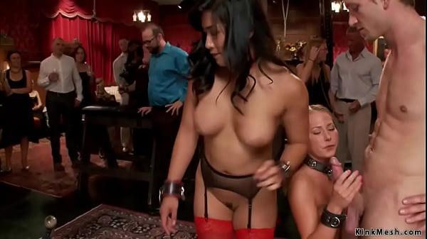 Slaves getting anal gangbang at party