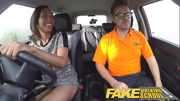 Fake Driving School Pretty black girl seduced b...