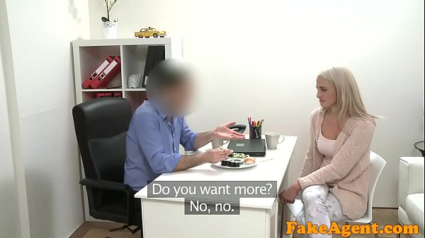 Fake Agent Hot blonde model loves cock over the desk with her sushi