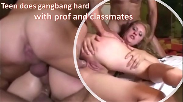 Teen does gangbang hard with teacher and classm...
