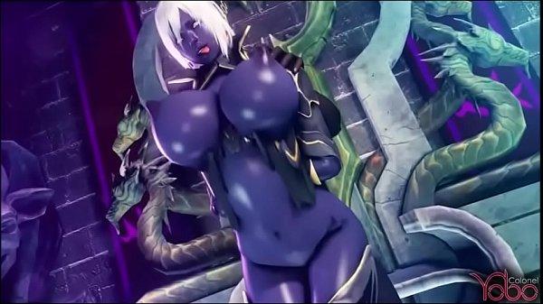dark elf gets fuck by all monster
