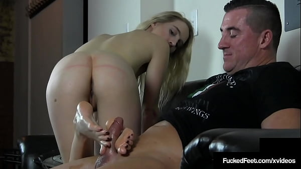 Slim Young Blonde Babe Cadence Lux Busts A Nut With Fantastic Footjob!