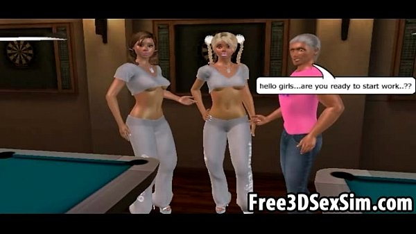 Two sexy 3D cartoon strippers getting fucked hard