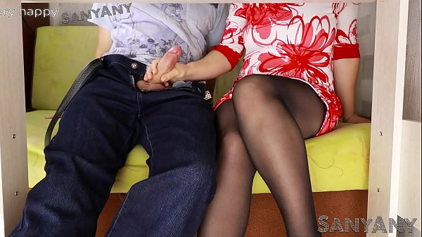 Sexy Student Milks a Stranger, he Cums on her soiling Tights- SanyAny