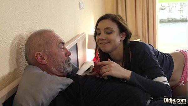 Kinky grandpa fucks young girl hardcore and she...