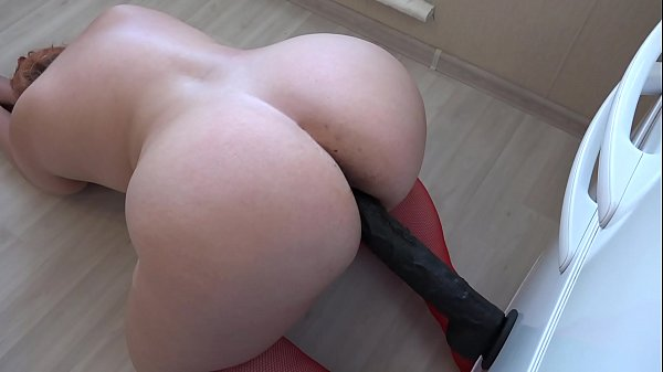 Chubby fuck hairy pussy with a big black dildo,...