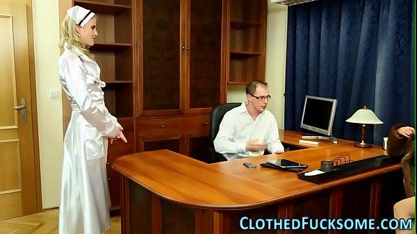 Classy dressed nurse fuck