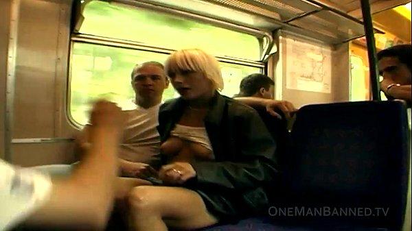 Public daring sex and flashing on a train Thumb