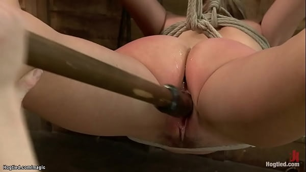 Slut hogtied and suspended and toyed
