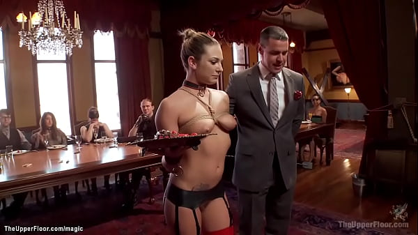 Blonde House slave humiliated at party