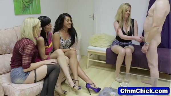 Cfnm chicks jerk off fool