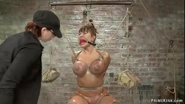 Huge boobs Asian lesbian tormented