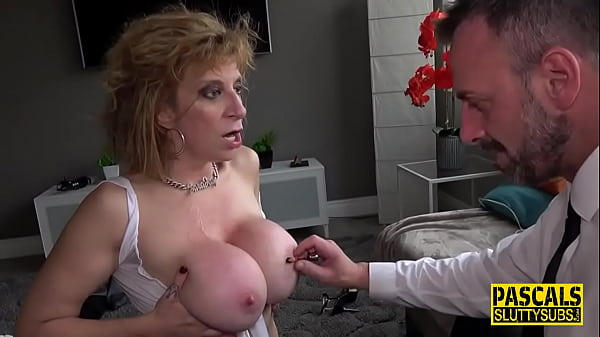 Milf submissive with big boobs gets clamped