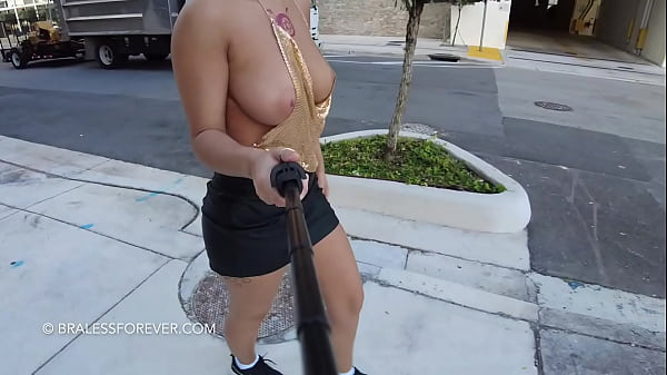 Big tits walking in public