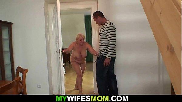 Busty blonde granny fucks son in law