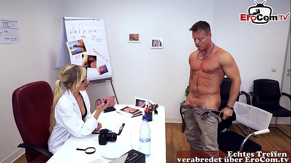 German female doctor test viagra at patient and fuck him