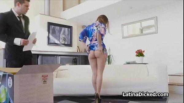 Latina wife rides vacuum salesman