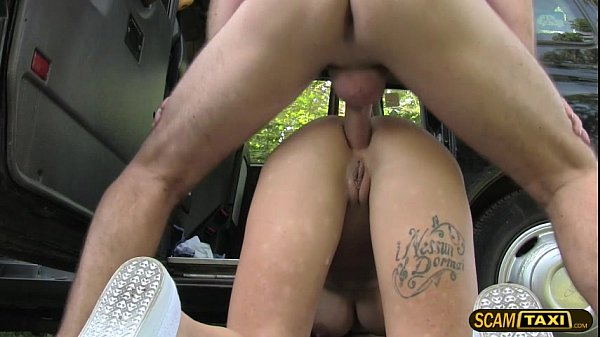 Stranded brunette lady trades a hot sex for a f...