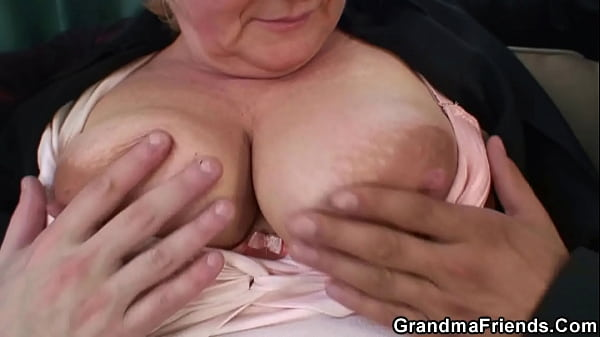 Two dudes pick up busty boozed blonde grandma