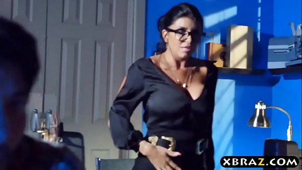 MILF teacher shows a porn movie in class and fucks a student