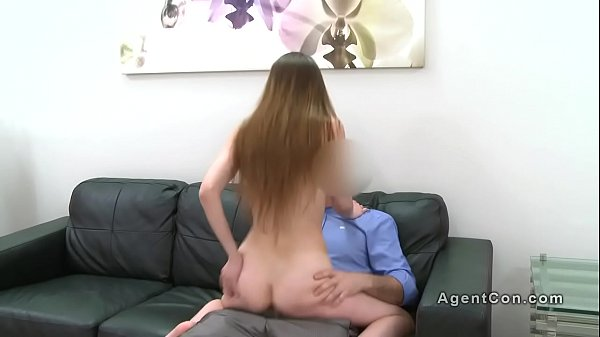 Slim brunette tries sex with fake agent