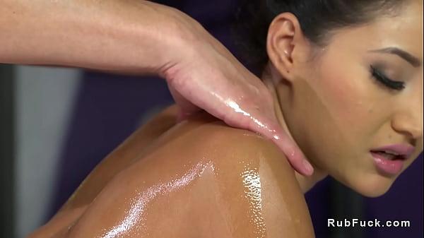 Big natural tits babe gets masseurs dick