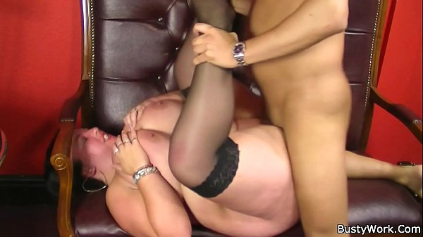 Big boobs woman swallows boss cock