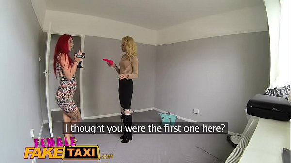Female Fake Taxi Lesbian sex toy play and pussy licking orgasms in UK flat Thumb