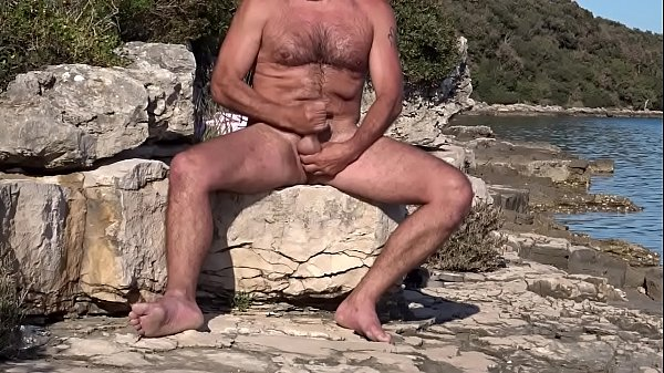 stroking my cock under the smooth croatian sun