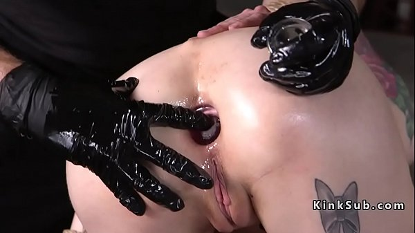 Anal fucking and plugging of tattooed slave