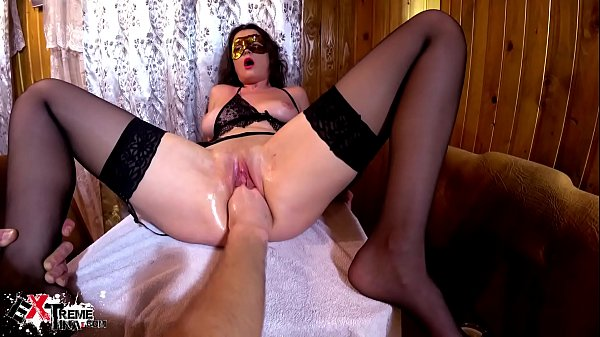 Hot Brunette Fisting Pussy  and Rough  Anal Sex - Creampie
