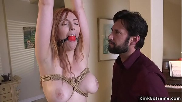 Lieutenant ties up and anal fucks redhead