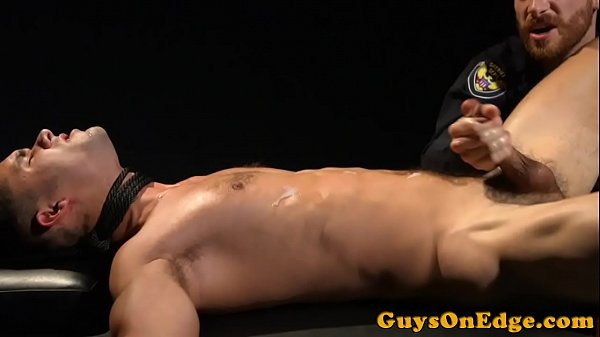 Tied up sub wanked til the edge before cum