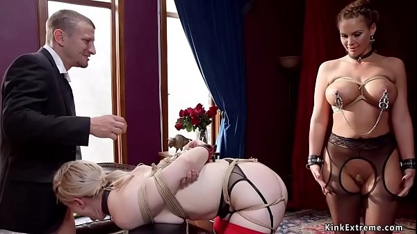 Busty MILF and blonde anal bdsm banged