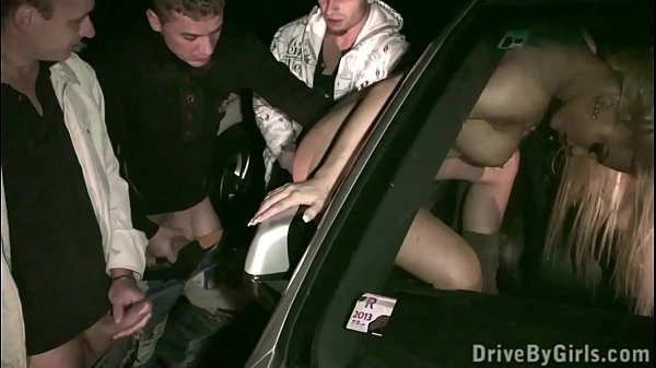 Ass through car window for anyone to fuck at a public sex gang bang dogging orgy